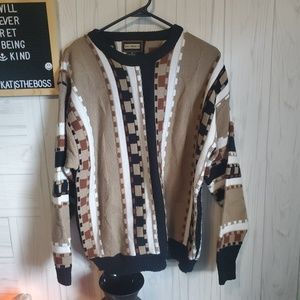 """BACHRACH """"OLD MAN"""" KNIT SWEATER VTG AMAZING MED"""
